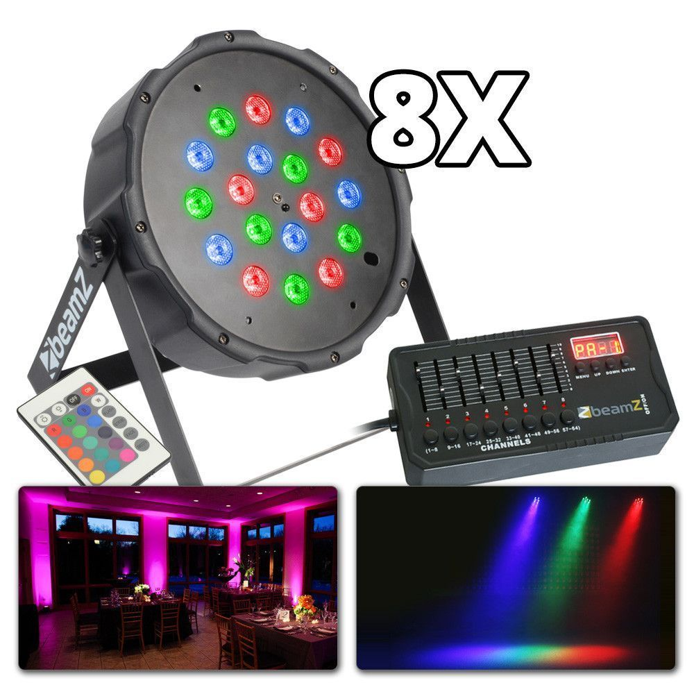 Afbeelding van BeamZ lichtset met 8x 18W LED FLATPAR spots incl. kabels...