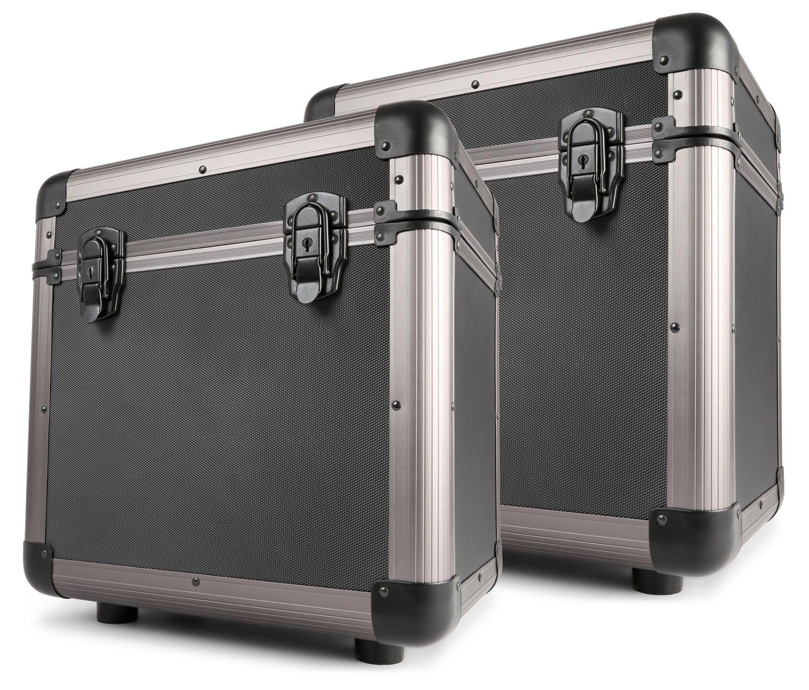Set van 2 Power Dynamics RC80 12 platenkoffers titanium