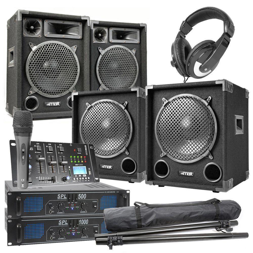 Afbeelding van MAX-1012 Complete 1500W 2.2 DJ set met o.a. Bluetooth mixer...