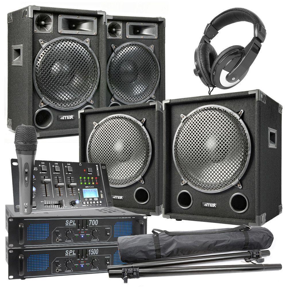 Afbeelding van MAX-1215 Complete 2200W 2.2 DJ set met o.a. Bluetooth mixer...