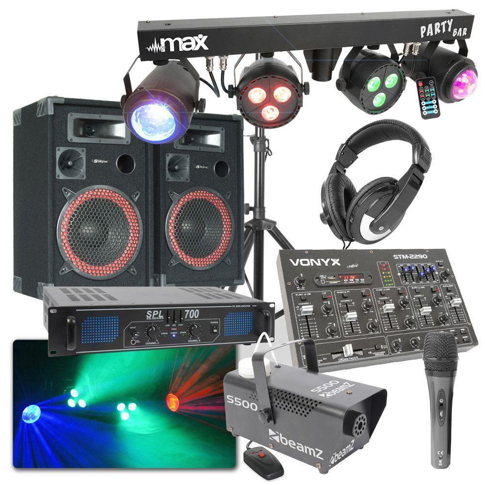 Afbeelding van MAX Complete 700W DJ Bluetooth Disco Set met Geluid, Licht en Rook...
