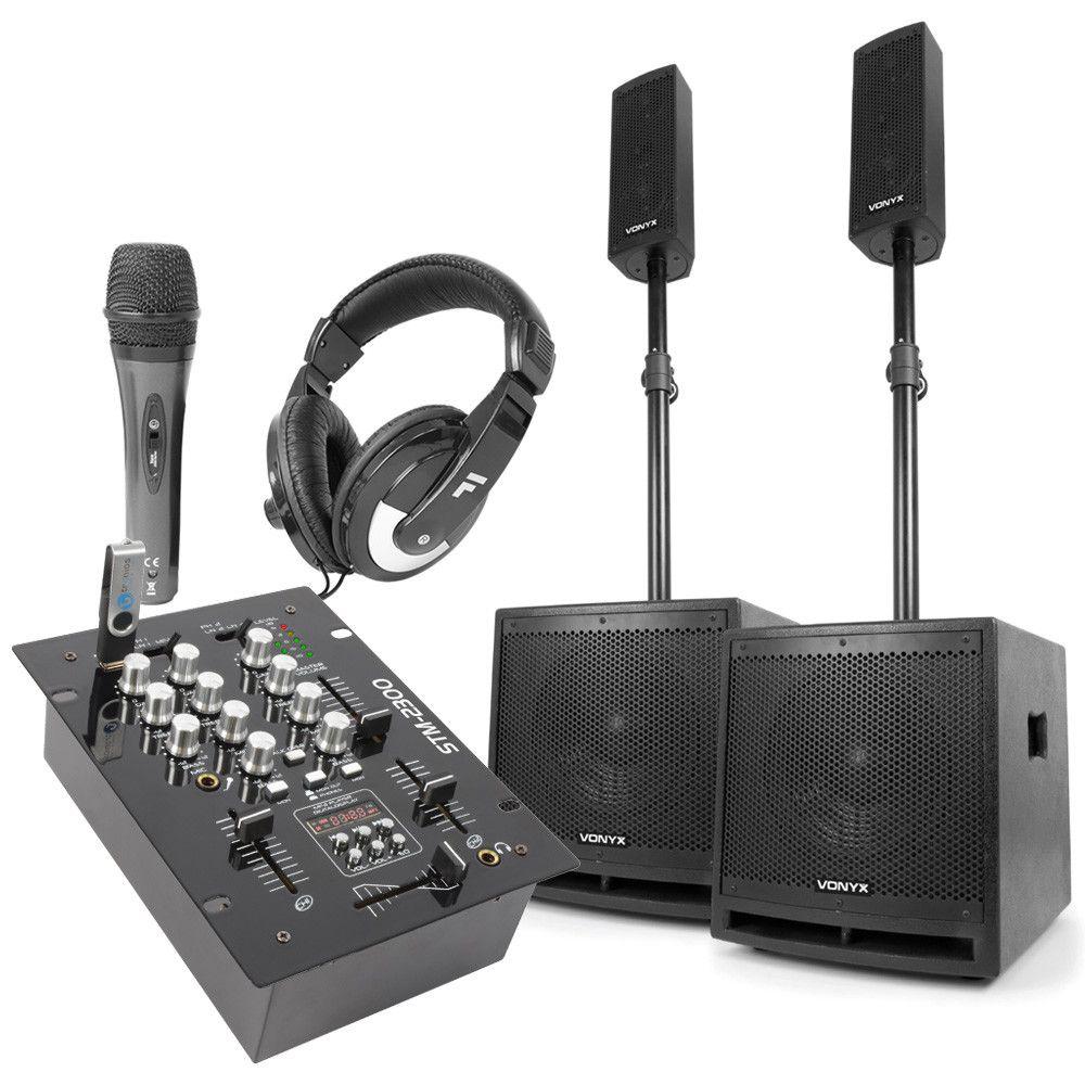 Vonyx 2.2 DJ speakerset met mixer en gratis DJ accessoires