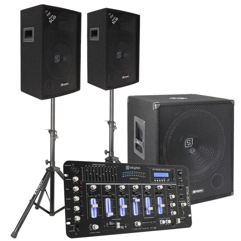 Skytec 2.1 complete DJ live set 1100 Watt met mixer en kabels