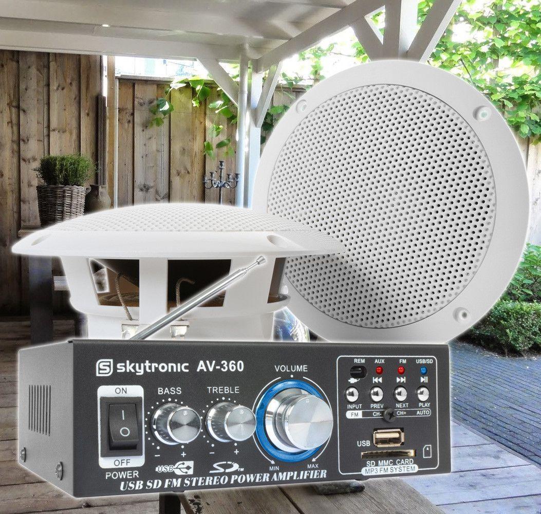 SkyTronic TS05 Waterbestendige buiten speakers 5 met versterker