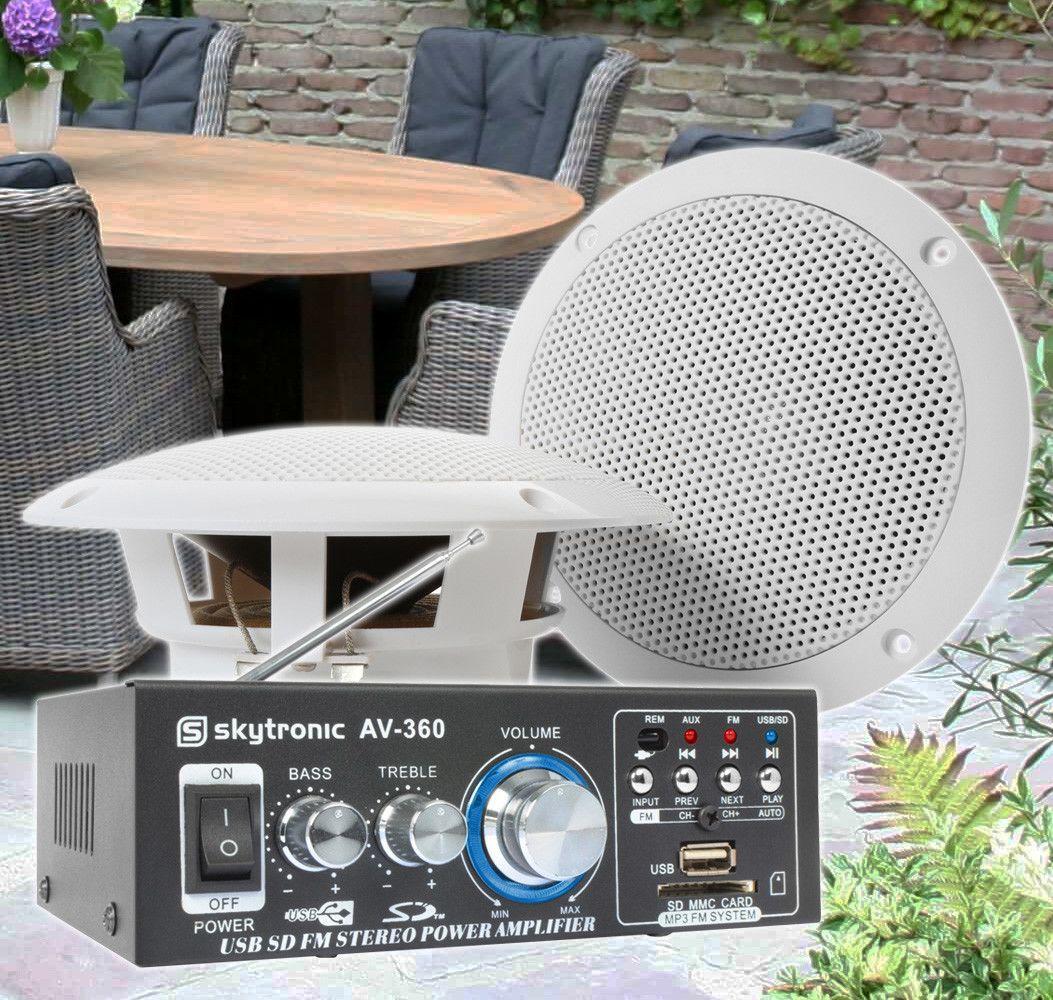 SkyTronic TS06 Waterbestendige buiten speakers 6,5 met versterker