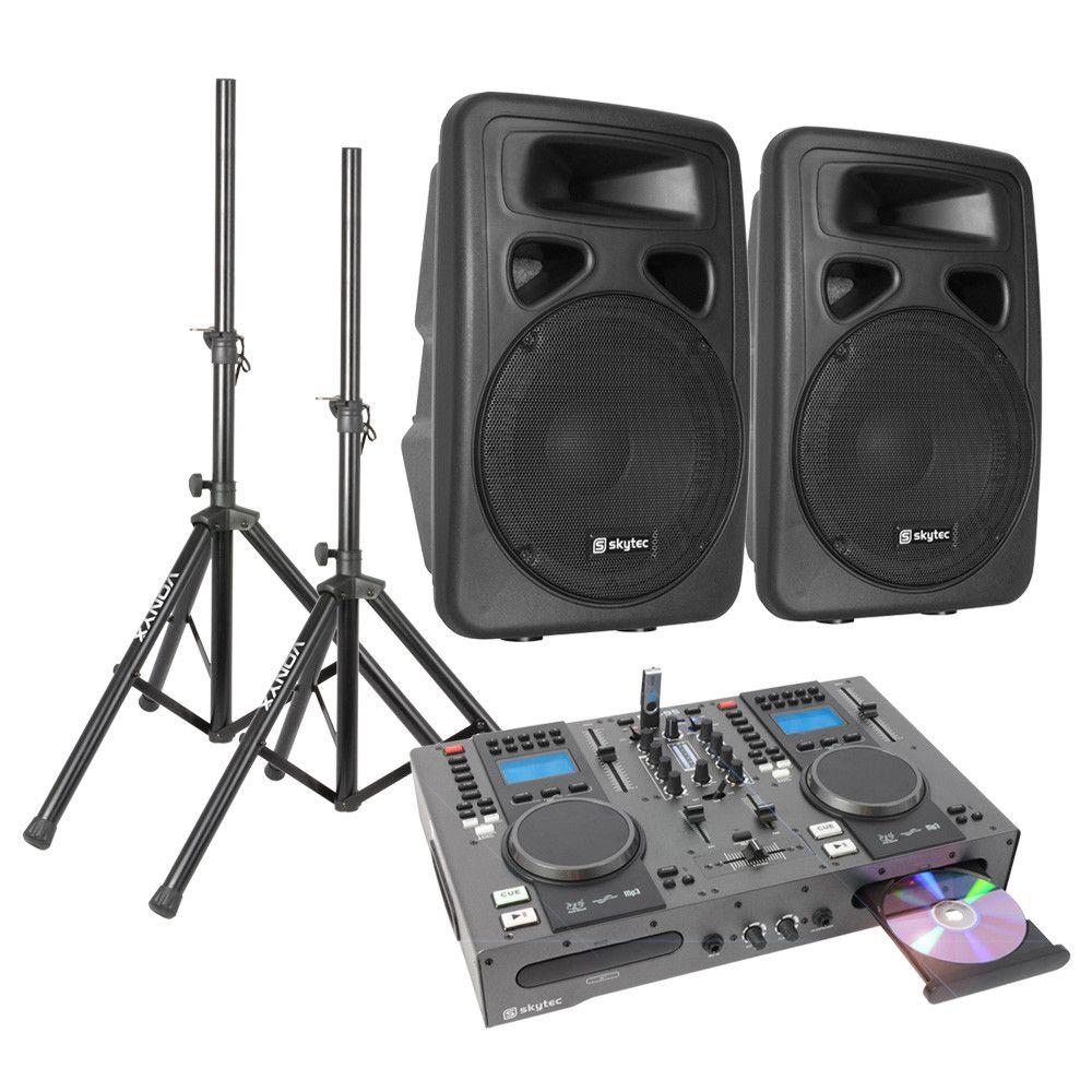 Dubbele CD-USB Speler DJ Starterset met 10 Actieve speakers