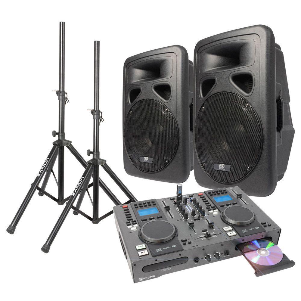 Dubbele CD-USB Speler DJ Starterset met 12 Actieve speakers