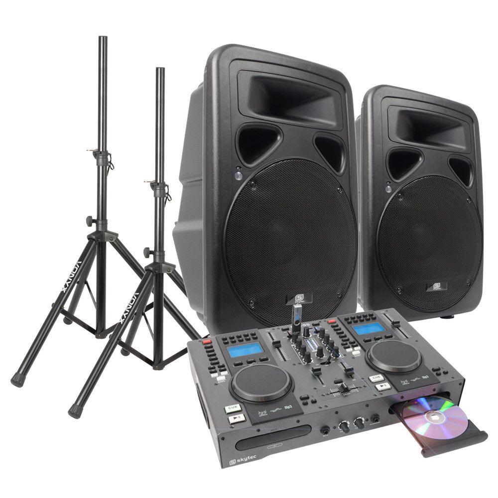 Dubbele Cd Usb Speler Dj Starterset Met 15 Inch Actieve Speakers SkyTec kopen