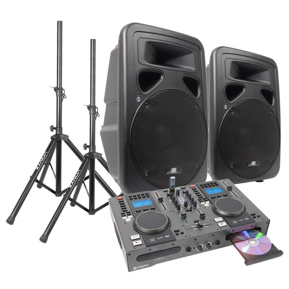 Dubbele CD-USB Speler DJ Starterset met 15 Actieve speakers