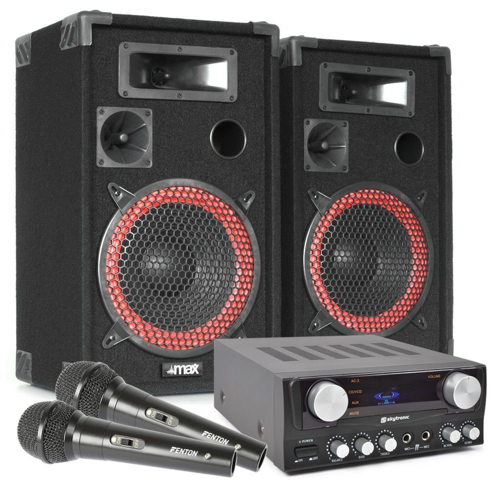 Dagaanbieding - MAX8 karaoke en zang setje compleet met kabels en microfoons dagelijkse koopjes