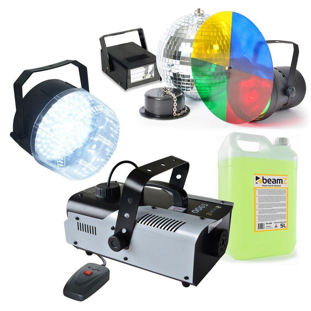 Complete disco starterset met Rookmachine, LED Stroboschoop en spiegelbolset