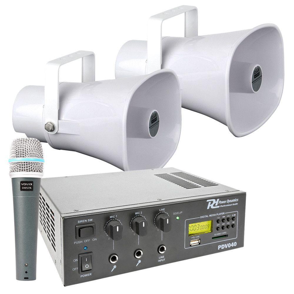 Afbeelding van 100V auto omroepinstallatie 30W met 2 hoornspeakers en versterker...