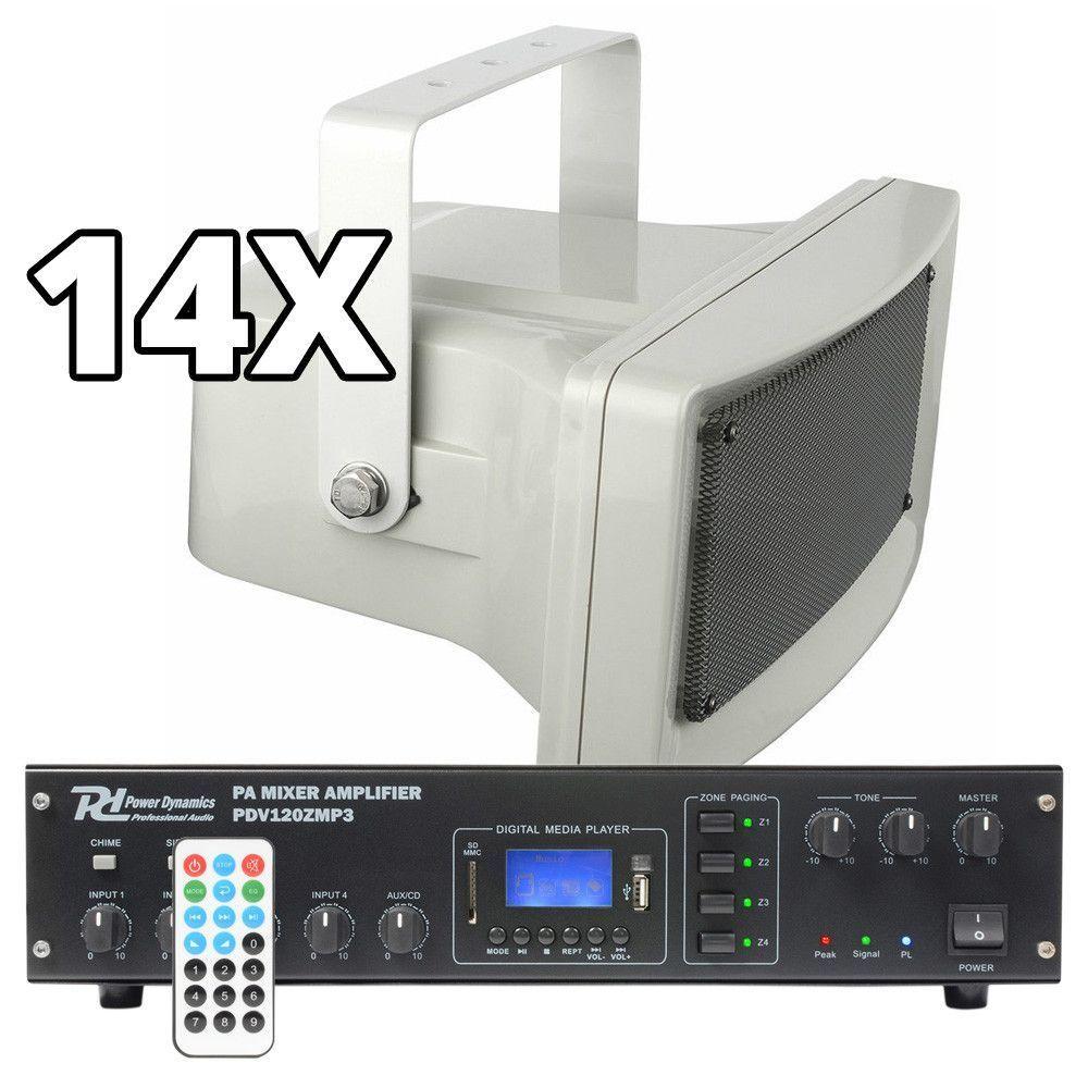 Afbeelding van 100V geluidsinstallatie met 14 speakers voor winkelcentrum, bedrijfsha...