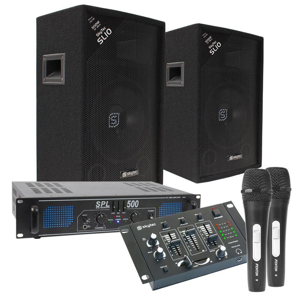 Afbeelding van Complete SkyTec karaoke set 500W met versterker, speakers en kabels...