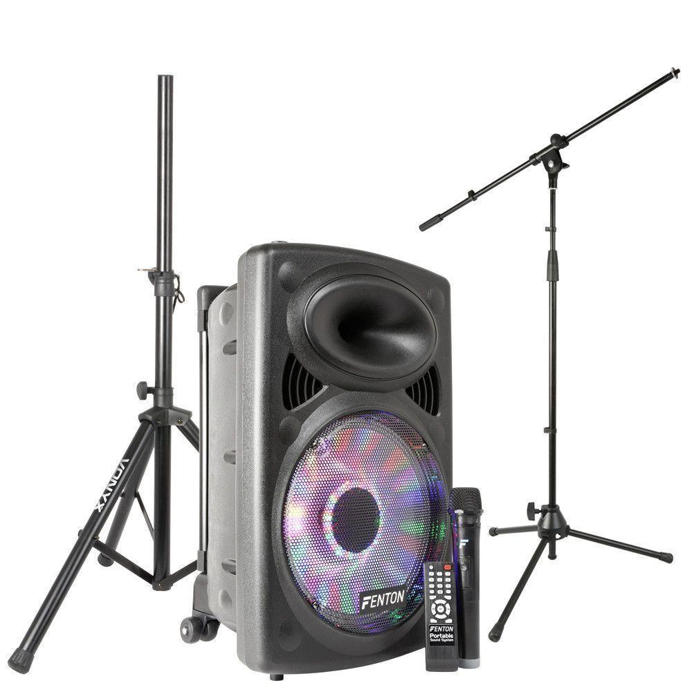Afbeelding van Fenton FPS12 mobiele geluidsinstallatie op accu met standaards...