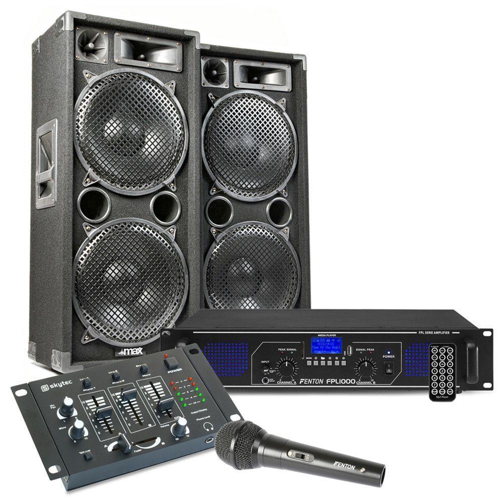 MAX212 DJ set met o.a. speakers, versterker en mixer - 2800W