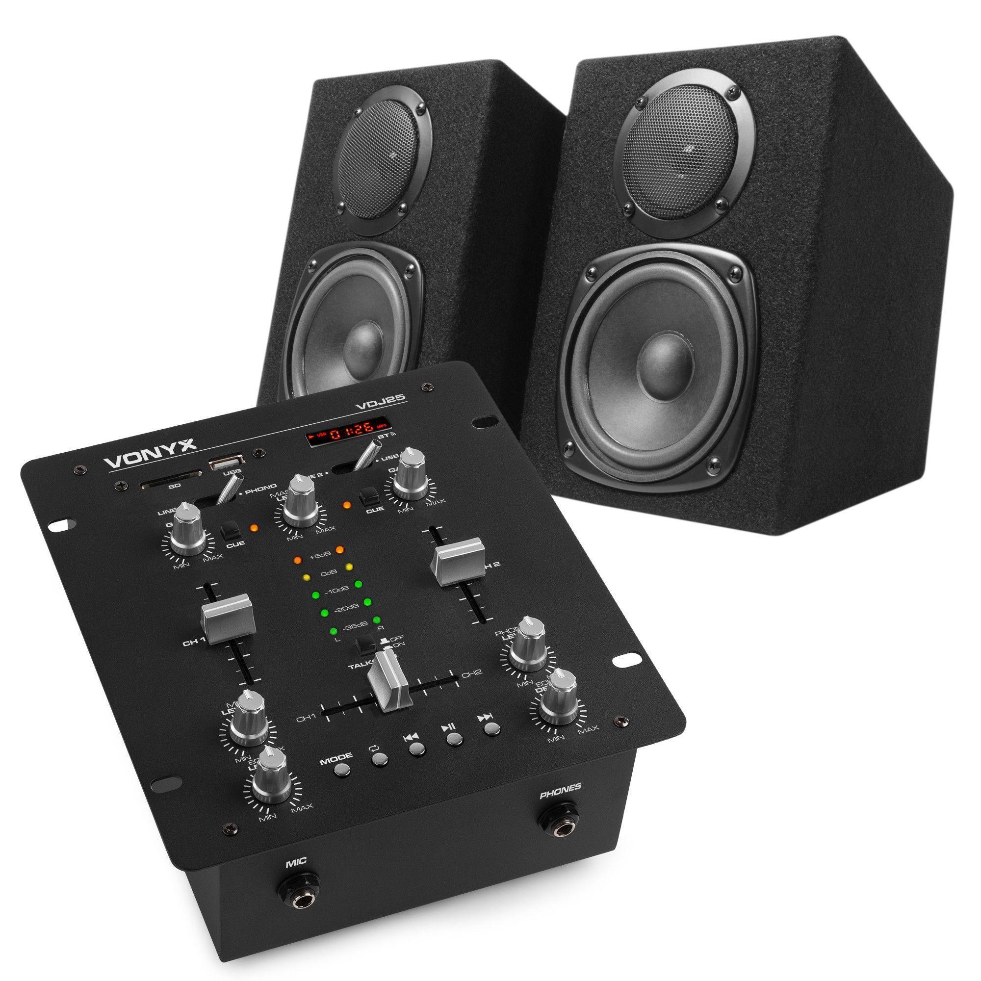 Vonyx VDJ25 DJ set - Mixer met versterker en speakers