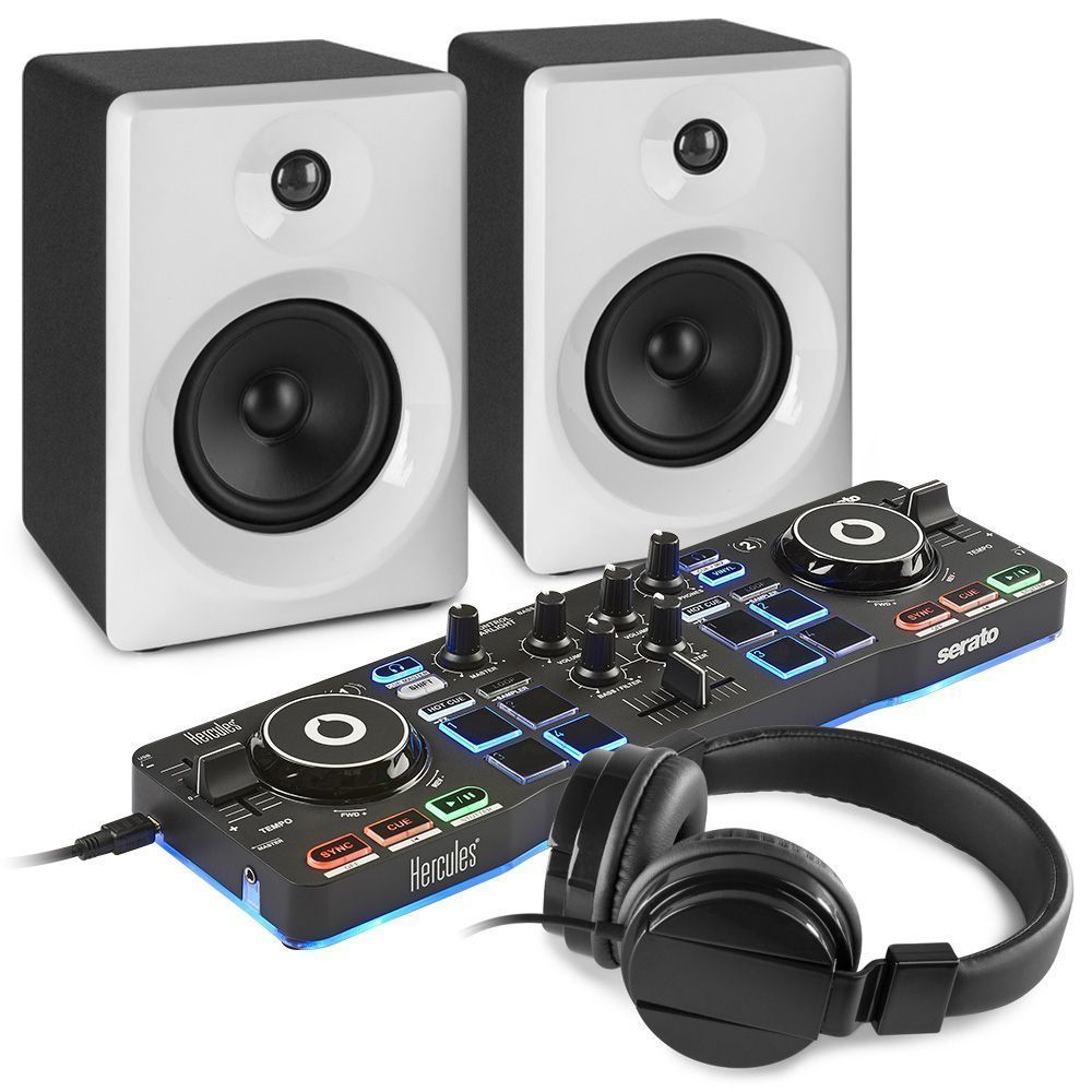 Hercules DJControl Starlight DJ set met actieve speakers - Wit/zwart
