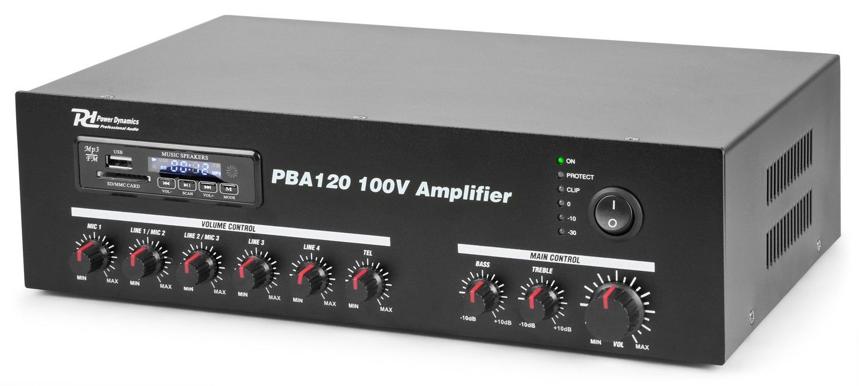 PBA120 100V versterker 120W met mp3 speler, tuner en Bluetooth