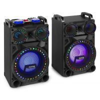 Fenton VS10 Actieve 800W speakerset met LED Disco verlichting, Bluetooth, etc.