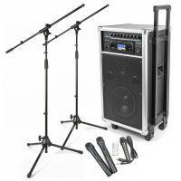Vonyx ST100 Mobiele installatie met accu, draadloze microfoons en twee microfoonstandaards