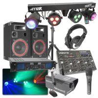 MAX Complete 500W DJ Bluetooth Disco Set met Geluid, Licht en Rook