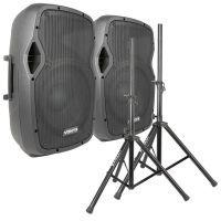 Vonyx AP1500 actieve Bluetooth / mp3 speakerset met standaards