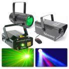 BeamZ Disco Lampen met laser - Moonflower, Rood/Groene Laser en Rookmachine Set 3