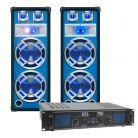 SkyTec blauw Complete 600W DJ Set met PA Versterker en Disco LED Luidsprekers