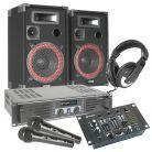 SkyTec Complete 500W DJ Set met Boxen, Versterker, Mixer, Koptelefoon, Microfoon en kabels