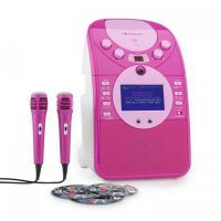 Auna ScreenStar roze karaoke set met camera, kleurenscherm, CD+G, mp3 en 2 microfoons