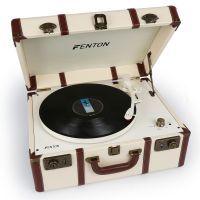 Fenton RP145 witte retro platenspeler in koffer met ingebouwde speakers