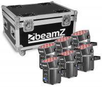 BeamZ BBP60 Uplighter set met 6 draadloze spots in flightcase
