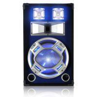 "SkyTec PA DJ Luidspreker blauw 12"" 600W met LED Disco Verlichting"
