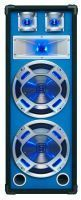 "SkyTec PA DJ Luidspreker blauw 2 x 10"" 800W met Disco LED Verlichting"