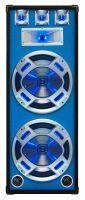"SkyTec PA DJ Luidspreker blauw 2 x 15"" 1000W met Disco LED Verlichting"
