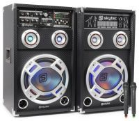 "SkyTec SPD-10V Set Actieve speakers 10"" USB MP3 800W met draadloze microfoon"