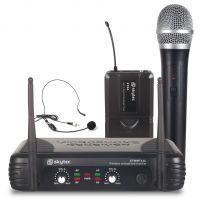SkyTec Twee Kanaals Draadloze UHF Microfoon / Headset Combinatie STWM722C