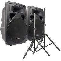 """SkyTec SP1500A Actieve Speakerset 15"""" met Standaards 1600W"""
