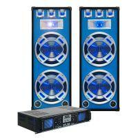 SkyTec blauw Complete 2000W DJ Set met PA Versterker en Disco Luidsprekers