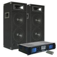 SkyTec DJ SM28 PA Luidsprekers 1000W en Versterker met USB / MP3 / SD Speler