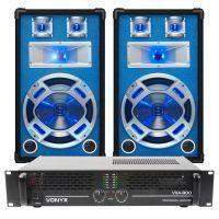 SkyTec DJ Set LED12 1200W PA Versterker met Disco Luidsprekers MKII