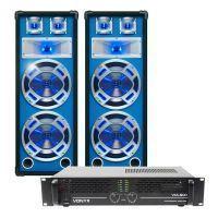 SkyTec DJ Set LED208 1200W PA Versterker met Disco Luidsprekers MKII