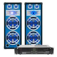 SkyTec DJ Set LED210 1600W PA Versterker met Disco Luidsprekers MKII