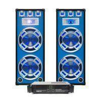 SkyTec DJ Set LED215 2000W PA Versterker met Disco Luidsprekers MKII