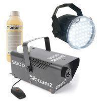 BeamZ LED Stroboscoop Wit met S500 Rookmachine met vloeistof