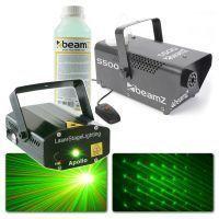 BeamZ Apollo Multipoint laser met S500 Rookmachine met vloeistof