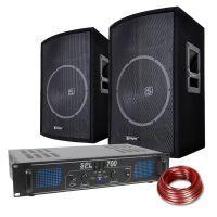 SkyTec DJ Luidspreker en Versterker combinatie 700W