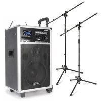 SkyTec ST180 Mobiele installatie met accu, draadloze microfoons en twee microfoonstandaards