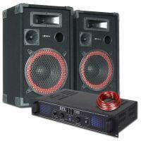 SkyTec DJ PA Luidspreker en Versterker combinatie 1000W
